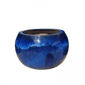 Glazed Sapphire Ball Planter