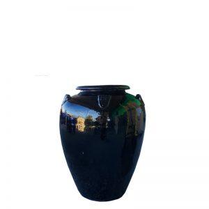 Glazed Black Temple Jar with Lugs