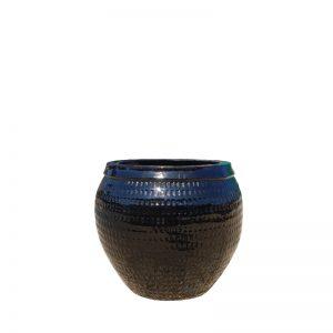 Glazed Black Collar Planter