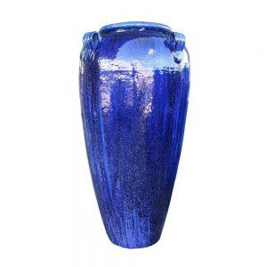 Glazed Blue Tall Temple Jar with lugs