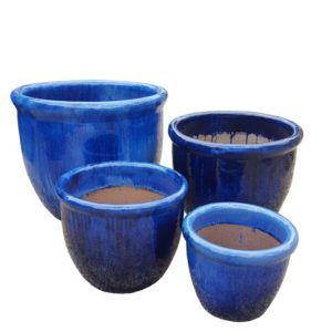 Glazed Blue Roll Top Planters