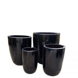 Glazed Black Tall U Planter