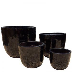 Glazed Black U Planter