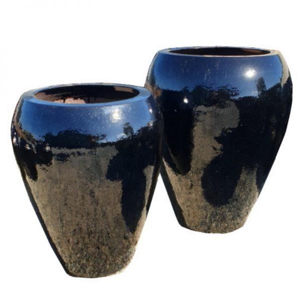 Glazed Black Noodle Jar