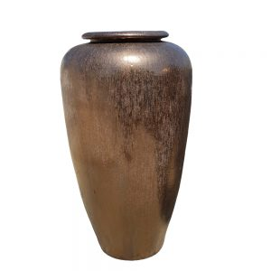 Glazed Heavy Metal Tall Temple Jar